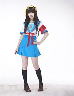 geinspireerd door Suzumiya Haruhi Haruhi Suzumiya Anime Cosplaykostuums Cosplay Kostuums Schooluniformen Patchwork Korte mouwTop Rok Riem