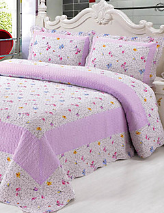 3-teilig lila Muster gewaschen Baumwollsteppdecke Set