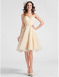 TS Couture®  / Cocktail Party / Prom Dress - Champagne Plus Sizes / Petite A-line / Princess Sweetheart / Spaghetti Straps Knee-length