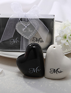 """Mr. & Mrs."" Ceramic Salt & Pepper Shakers"