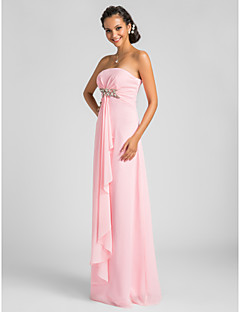 LAN TING BRIDE Floor-length Strapless Bridesmaid Dress - Open Back Sleeveless Chiffon