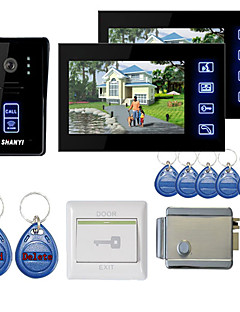"""New 7"""" Color Hands Free Video Door phone with 2 Monitors(RFID keyfobs,Electronic Controlling Lock)"""