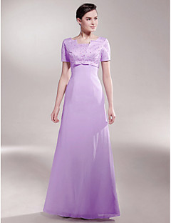 A-line Plus Size / Petite Mother of the Bride Dress Floor-length Short Sleeve Chiffon / Satin with Beading / Bow(s)
