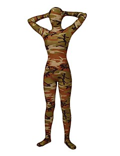 Light Green Camouflage Spandex Lycra Full Body Zentai