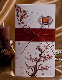Nem személyre szabott Oldalra nyíló Esküvői Meghívók Meghívók-50 Darab / készlet Művészeti stílus / Flóra stílus Kártyapapír 20,8*10,3 cm