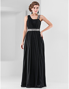 Formal Evening/Military Ball Dress - Black Sheath/Column Straps Floor-length Chiffon
