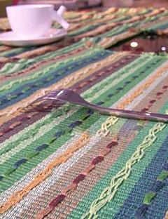 Ensemble de 4 napperons à rayures en coton coloré