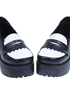 Handmade White and Black PU Leather 5cm Chunky Heel Classic Lolita Shoes