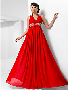 Formal Evening/Military Ball Dress - Ruby Plus Sizes A-line/Princess High Neck/V-neck Floor-length Chiffon