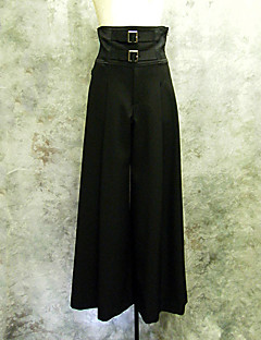 Elegant Gothic Double Belted Black Cotton Punk Lolita Bell-bottom Pants