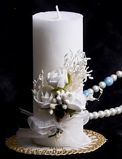 kleurrijke kaars met strik koraal bruiloft