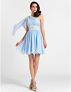Homecoming Short/Mini Chiffon Bridesmaid Dress - Sky Blue Plus Sizes A-line/Princess One Shoulder