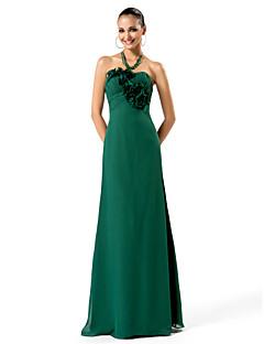 저녁 정장파티/프롬/밀리터리 볼 드레스 - 다크 그린 시스/컬럼 바닥 길이 스트랩 없음 쉬폰 플러스 사이즈