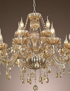 Lampadario regale, a 12 luci con lampadine a forma di fiamma, in vetro