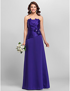 Floor-length Strapless Spaghetti Straps Bridesmaid Dress - Floral Sleeveless Satin