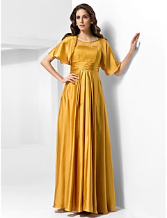 Military Ball/Formal Evening Dress - Gold Plus Sizes A-line/Princess Scoop Floor-length Stretch Satin