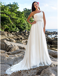 Lanting A-line/Princess Plus Sizes Wedding Dress - Ivory Chapel Train One Shoulder Chiffon