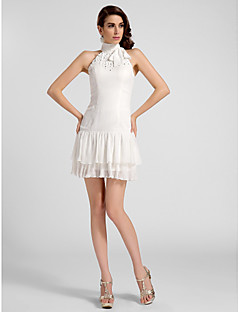 Cocktail Party / Graduation Dress - Ivory Plus Sizes / Petite A-line / Princess High Neck Short/Mini Chiffon