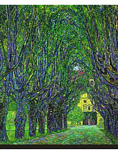 Fákkal szegélyezett út vezet a Manor House Kammer, Felső-Ausztria, 1912-ben Claude Monet híres kifeszített vászon Nyomtatás