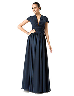 TS Couture Formal Evening / Military Ball / Wedding Party Dress - Dark Navy Plus Sizes / Petite Sheath/Column V-neck Floor-length Chiffon