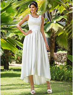 Lanting A-line/Princess Plus Sizes Wedding Dress - Ivory Asymmetrical Scoop Satin