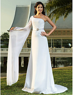 LAN TING BRIDE Sheath / Column Wedding Dress - Chic & Modern Elegant & Luxurious Simply Sublime Sweep / Brush Train One Shoulder Chiffon