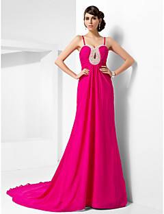Formal Evening Dress - Fuchsia Plus Sizes A-line/Princess Sweetheart/Spaghetti Straps Court Train Chiffon