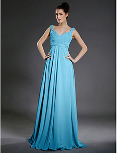 Lanting Bride® Floor-length Chiffon Bridesmaid Dress A-line V-neck / Straps Plus Size / Petite with Beading / Draping / Criss Cross