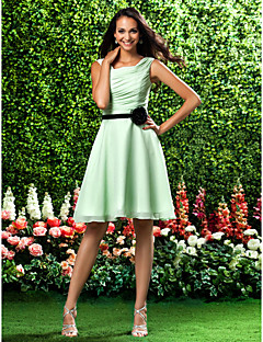Homecoming Bridesmaid Dress Knee Length Chiffon A Line Square Dress
