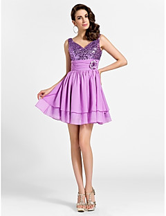 Homecoming Cocktail Party/Prom/Sweet 16 Dress - Lilac Plus Sizes A-line/Princess V-neck/Straps Short/Mini Chiffon/Sequined