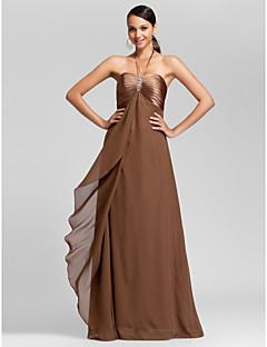 スレンダーライン ブライドメイドドレス ブラウン シフォン ホールター/ハートカット フロア 大きいサイズ