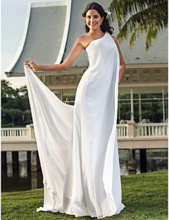 Lanting Bride Sheath/Column Petite / Plus Sizes Wedding Dress-Floor-length One Shoulder Chiffon