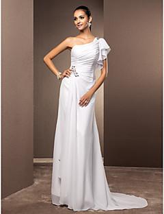 웨딩 드레스 - 화이트 시스/컬럼 스위프/브러쉬 트레인 원 숄더 쉬폰 플러스 사이즈