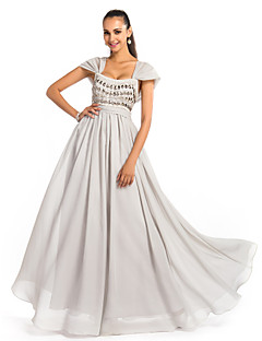 Formal Evening/Prom/Military Ball Dress - Silver Plus Sizes A-line/Princess Square Floor-length Chiffon