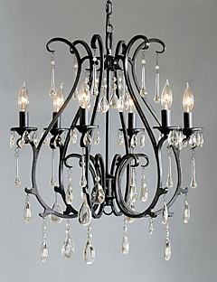 Modern 6 - Light Crystal Chandeliers Candle Feature