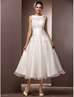 LAN TING BRIDE A-line Wedding Dress - Reception Little White Dress Wedding Dress with Wrap Tea-length Jewel Organza withAppliques Pearl