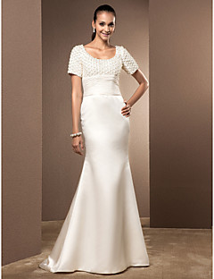 Lanting Trumpet/Mermaid Plus Sizes Wedding Dress - Ivory Court Train Scoop Satin/Lace
