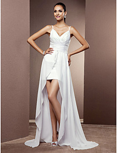 LAN TING BRIDE Sheath / Column Wedding Dress - Chic & Modern Elegant & Luxurious Two-in-One Asymmetrical V-neck Chiffon withCriss-Cross