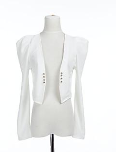 recadrée veste en coton à manches fronces et des boutons (plus de couleurs)