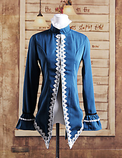 Stand Collar Long Sleeve Blue Cotton Lolita Gothic Coat