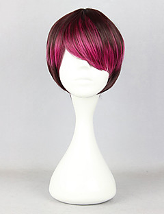 Zipper Short Wine Red Highlights 28cm Oji Lolita Wig
