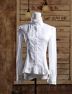 Stand Collar Long Sleeve White Cotton Classic Lolita Blouse