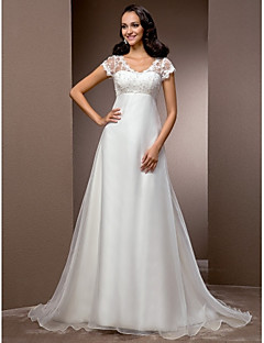 Lanting A-line/Princess Plus Sizes Wedding Dress - Ivory Court Train V-neck Organza/Lace