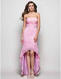 TS couture® 공식적인 저녁 드레스 - 골 크로스 플러스 크기 / 아담 칼집 / 칼럼 끈이 비대칭 쉬폰을 다시 엽니 다