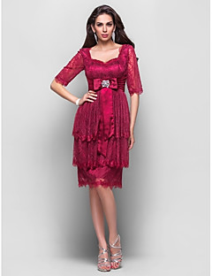 Homecoming Cocktail Party Dress - Burgundy Plus Sizes A-line/Princess Sweetheart Knee-length Lace/Stretch Satin