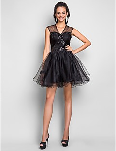 TS Couture Cocktail Party Prom Sweet 16 Dress - Short A-line V-neck Short / Mini Tulle with Draping Criss Cross Sequins