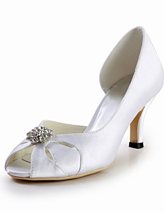 Elegant Satin Stiletto Heel Peep Toe Pumps with Rhinestone Wedding Shoes(More Colors)