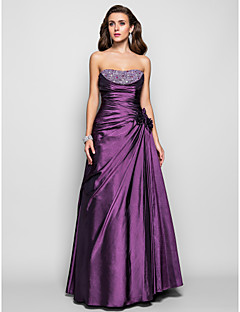 TS Couture® Prom / Formal Evening / Military Ball Dress - Open Back Plus Size / Petite A-line / Princess Strapless Floor-length Taffeta with Beading