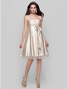 Homecoming Cocktail Party/Homecoming/Prom Dress - Champagne Plus Sizes A-line/Princess Spaghetti Straps Knee-length Stretch Satin/Tulle