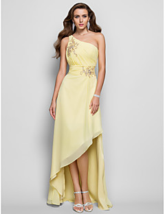 Prom / Formal Evening Dress - Plus Size / Petite A-line / Princess One Shoulder Asymmetrical Chiffon